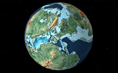 Vergangene Welten auf einem interaktiven Globus